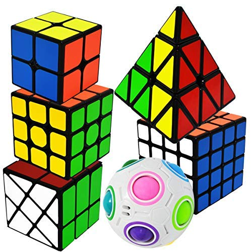 EASEHOME Speed Magic Cube Set Pyraminx + 2x2x2 + 3x3x3 + 4x4x4 + Magic Rainbow Ball + Fenghuolun, 6 Pack Puzzle Cubes Rompecabezas Cubo Mágico PVC Pegatina para Niños y Adultos