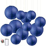 Treer Chinese <span class='highlight'>Round</span> <span class='highlight'>Paper</span> <span class='highlight'>Lantern</span>s, 12pcs Assorted Colors Lamp Shades Garland for Christmas Festival Wedding Birthday Party Indoor Outdoor Decorative (Navy Blue)