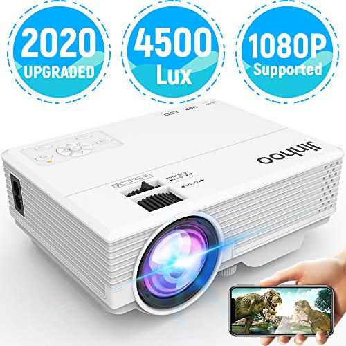 "2020 Latest Projector, Mini Video Projector with 4500 LUX, 1080P Supported, Portable Movie Projector, 176"" Display Compatible with TV Stick, HDMI, USB, VGA, AV for Home Entertainment"