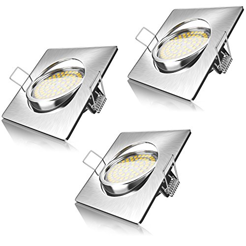 Brandson – 3X LED Foco empotrables | Luz Extraplano | Lámpara de Techo | Ángulo Orientable | Estructura Fina de Aluminio Fundido a presión | Acero Inoxidable | Haz de luz: 120° | 230V | 4 Watt