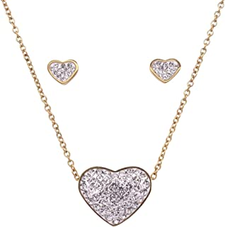 Bevilles Yellow Stainless Steel Crystal Heart Necklace & Earrings Set