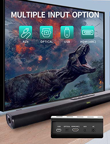 Sound Bar, Sound Bar for TV, Soundbar with Built-in Subwoofer, Wired & Wireless Bluetooth 5.0 Speaker for TV, HDMI/Optical/Aux/USB Input, Wall Mountable, Surround Sound System for TV & Home Theater