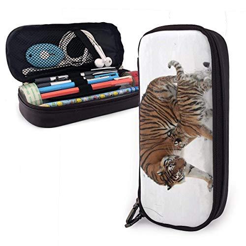 XCNGG Estuche para lápices de cuero Big Tiger y Little Tiger Estuche para lápices de gran capacidad Porta lápices grande Estuche para maquillaje Cremalleras dobles para adolescentes, niños, niñas, est