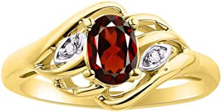 Diamond & Garnet Ring Set In Yellow Gold Plated Silver .925