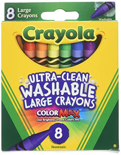 Crayola Washable Crayons, Large, 8 Colors/Box (52-3280) (4 Pack)