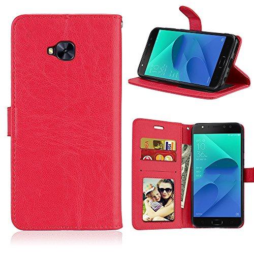 Laybomo Schuzhülle für ASUS Zenfone 4 Selfie Pro ZD552KL Hülle Ledertasche Weiches Gummi Silikon TPU Beutel Stehen Bilderrahmen Brieftasche Schale Tasche Handyhülle für ASUS ZD552KL (Rot)