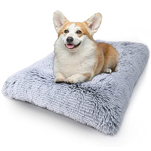 Vonabem Dog Bed Crate Pad, Deluxe Plush Anti-Slip Pet Beds, Machine Washable Dog Crate Mat for Large Medium Small Dogs and Cats Kennel Pad