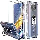 Milomdoi [3 Einheits] 1 Pcs Hülle für Xiaomi Poco X3 Pro/Poco X3 NFC + 2 Stücks Schutzfolie [Hartplastik ZurückundFlexibler TPU-Rahmen ][Militärqualität] mit 360°Metallring-Ständer-Transparent