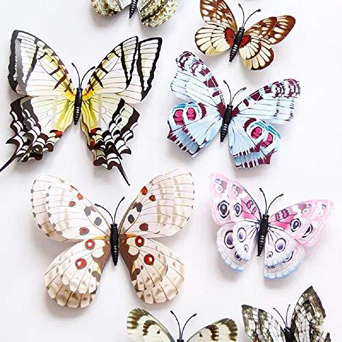 WandSticker4U®- 24er hochwertige 3D SCHMETTERLINGE WEIß mit Doppelflügel & Magnet I Schmetterlinge Deko für die Wand Kühlschrank Fenster Möbel Wohnzimmer Kinderzimmer Küche Butterfly