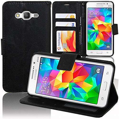 annaPrime Etui Coque Housse pour Samsung Galaxy Grand Prime SM-G530F G531F, Etui Portefeuille Support Video Cuir PU Couleur Noir