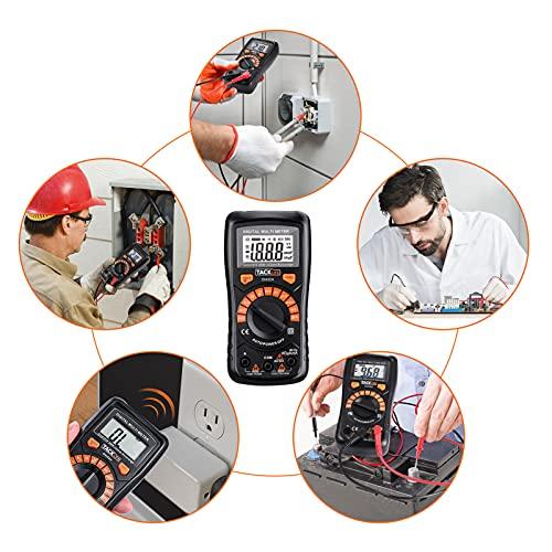 Multímetro Digital, Tacklife DM02A Polimetro autorango-2000 counts polimetro Rango automático con NCV, volimetro de retroiluminación LCD, tester eletrico con retención de datos
