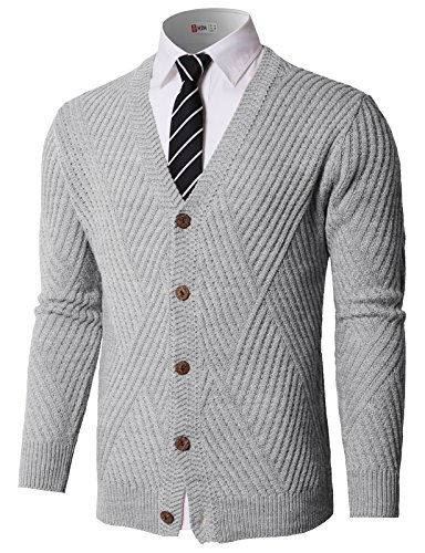 H2H Mens Long Sleeve Draped V-Neck Button Down Knitted Pullover Cardigans Gray US XL/Asia XL (KMOCAL0176)