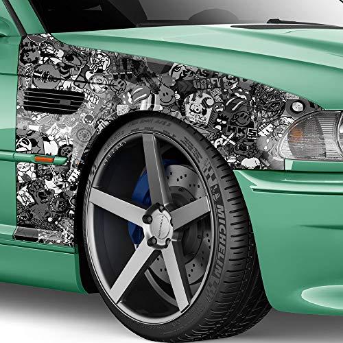 Film autocollant pour voiture 100 x 150 cm - Noir/blanc mat - Logo Bomb - JDM - Design : Special