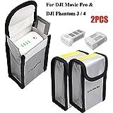 Ignifuge Sac de Batterie LiPo pour DJI Mavic Pro DJI Phantom 3 Phantom 4, Sac de Rangement pour Batterie Sécurité (150 x 90 x 55 mm, 2 PCs)