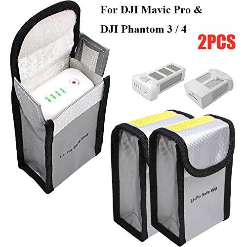Feuerfeste LiPo Batterie Tasche für DJI Mavic Pro DJI Phantom 3 Phantom 4, Feuerfeste Tasche Beutel für RC Batterien Akku (150 x 90 x 55 mm, 2er-Pack)