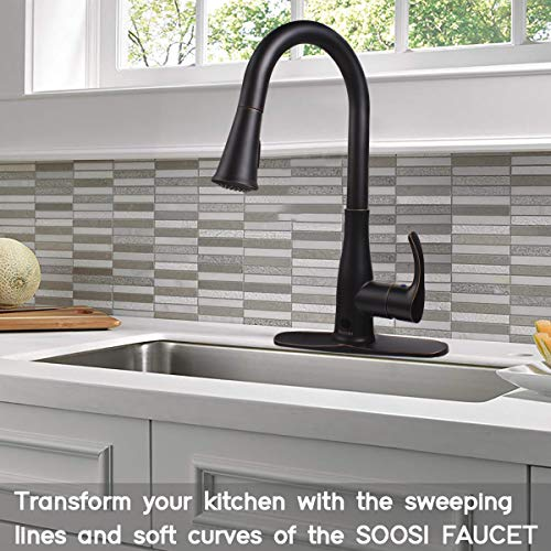Touchless Kitchen Faucet,Soosi Motion Sensor Single Handle Kitchen Faucets One Hole/Three Hole 3-Function Kitchen Faucets with Pull Down Sprayer Spot Free Oil Rubbed Bronze Stainless Steel Lead Free