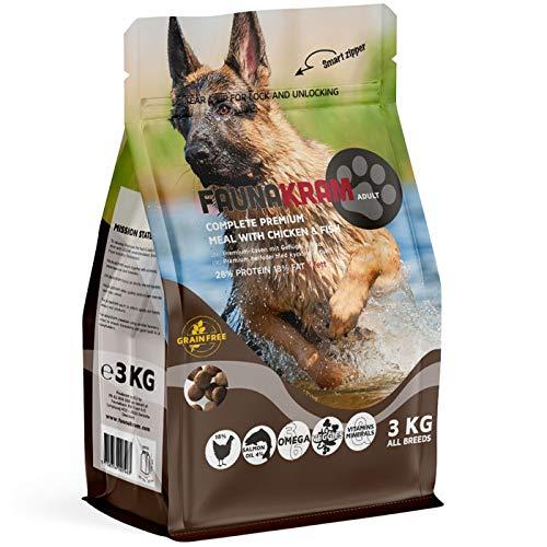 Faunakram Premium getreidefreies Hundetrockenfutter - Hundetrockenfutter mit Geflügel und Fisch für ausgewachsene Hunde Aller Rassen, (Huhn | Fisch, 3 kg)