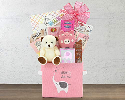 Newborn Baby Girl Gift- The Oh Baby Pink Baby Girl Gift Basket by Wine Country Gift Baskets