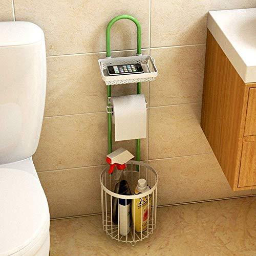 Soporte de toalla de papel sin golpe multifuncional Toalla de papel de WC vertical con soporte para teléfono y caja de almacenamiento, soporte de toalla de papel de baño de metal Estante de los organi