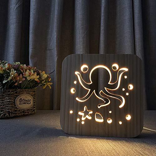 Hancoc Luz nocturna de madera lindo pulpo 3D hueco USB creativo decorativo LED lámpara de mesa dormitorio habitación infantil cumpleaños 19 x 19 cm escritorio