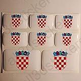 All3DStickers Aufkleber Kroatien Wappen 8 x Wappen von Kroatien Rechteckig 3D Kfz-Aufkleber Gedomt Flaggen Fahne