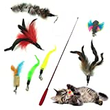PietyPet Gato Rectificable Toy Wand, Recargas múltiples Gato Pluma Juguete...