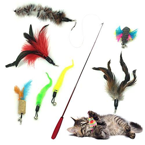 PietyPet Gato Rectificable Toy Wand, Recargas múltiples Gato Pluma Juguete Interactivo Gato Varita Rematador y ejercitador con Gato y Gatito Kitty, 8 Piezas