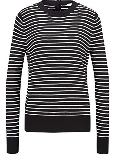 TOM TAILOR DENIM Damen Rundhals Strickpullover Easy Stripe XS S M L XL XXL gestreift 80% Viskose, Größe:XXL, Farbe:Black with White Stripe (15309)