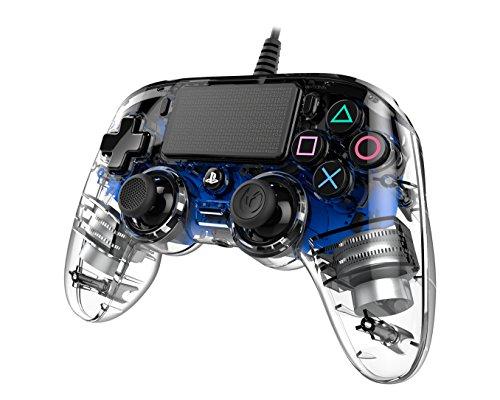 Nacon Manette Filaire compacte Lumineuse pour Playstation 4 - Accessoires de Jeux vidéo (Manette de Jeu, Playstation 4, Analogique/Numérique, Share, Bleu, avec Fil)