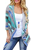Women's Casual Open Front 3/4 Sleeve Striped Printed Lightweight Cardigan Blue Large