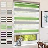 BondFree Estor doble Klemmfix sin agujeros, para ventanas y puertas, 45 x 100 cm (ancho de la tela 41 cm), color verde, gris y blanco