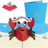PopLife Cards Feliz cangrejo rojo 3d emergente tarjeta de felicitación para cumpleaños - criaturas del mar, amantes del océano, juguete clásico - pliegues planas, perfecto para el envío de correos