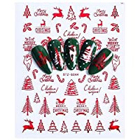 RLYBDL 1個の3Dネイルアートクリスマススライダーラップスノーフレークエルクサンタ粘着炎ステッカーレッドゴールドマニキュア爪はCHSTZG041-049デザイン (Color : STZG044 Red)