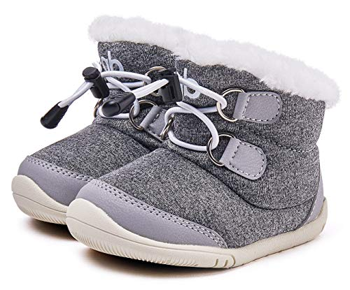 BMCiTYBM Baby Snow Boots Boys Girls Winter Infant Shoes Anti-Slip 6 9 12 18 24 Months Faux Fur Gray Size 12-18 Months Toddler