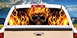 SignMission Flaming SkullRear Window Graphic Back Truck Decal SUV View Thru Vinyl