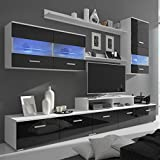 junhaofu TV-Möbel Siebenteilige Wohnwand mit LED Hochglanz Schwarz 250 cm
