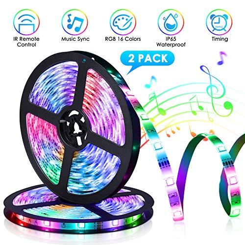 YUNLIGHTS LED Strip Lights 32.8Ft, IP65 Waterproof RGB LED Light Strips Music Sync, 5050 LED Tape Lights with 40 Keys IR Remote, Color Changing Strip Lights Rope Lights for Lighting Home Bar Kitchen