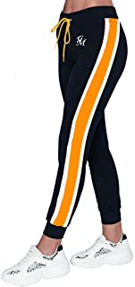 Aditivo Women´s Joggers with Pockets, Black and Yellos Sweatpants, Lounge Pants for Yoga Workout Running.