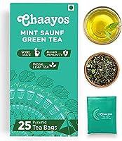 Chaayos Mint Saunf Green Tea Bags | Refreshing Taste of Fennel | Immunity Booster | Whole Leaf Tea (25 Pyramid Tea Bags)