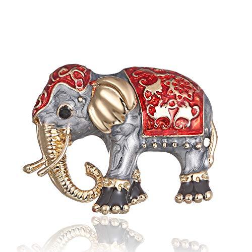 AILUOR Damen Emaille-Elefant Brosche, Gold-Legierung Bunte Tasche Tier Ehrennadel Anzug Corsage Accessoires Schmuck rot Einstellbar