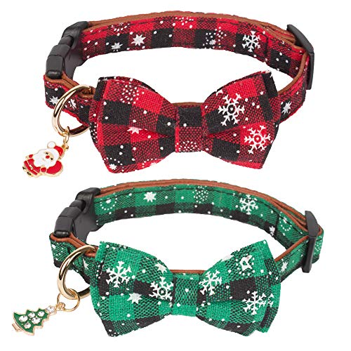 Christmas Dog Collar with Bow Tie Adjustable Bowtie Plaid Red Green Dog Pet Collars for Small Medium Large Dogs (S)