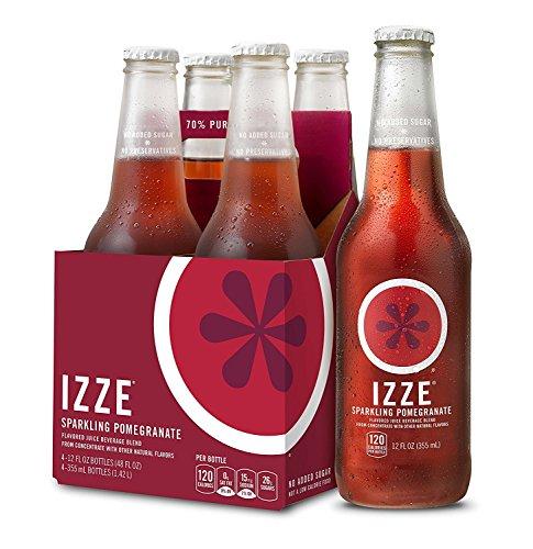 IZZE Sparkling Juice, Pomegranate, 12 oz Glass Bottles, 4 Count