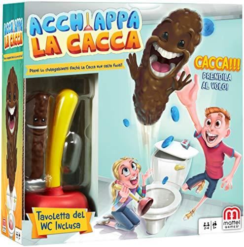 Mattel Games FWW30 Acchiappa la Cacca con Toilet Incluso, Gioco da Tavolo per Bambini, 5 + Anni, Versione Italiana