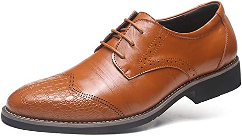 YEEWEN Handgemacht Herren Business Oxford Schuhe Brogue Schuhe Schnürschuhe Kunstleder Wingtip Solid Farbes Stit ng Abendschuhe (Farbe   Gelb, Größe   46 EU)