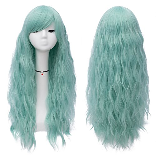 Mildiso Mint Green Wigs for Women Long Curly Wavy Green Hair Wig Natural Cute Colorful Wig with Breathable Wig Net Perfect for Daily Party Cosplay M047G