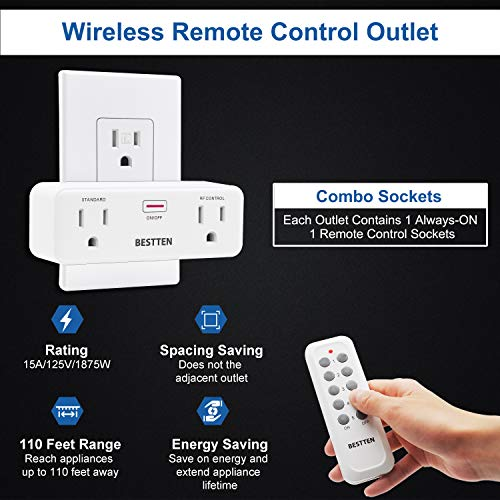 BESTTEN Wireless Remote Control Outlet Combo Kit (2 Wall Outlets + 1 Remote), 15A/125V/1875W, Each Outlet Contains 1 Always-ON