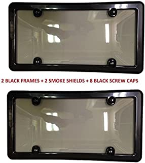 Trunknets Inc 2 Unbreakable Tinted Smoke License Plate Shield Cover + 2 Black Frames + 8 Black Screw CAPS