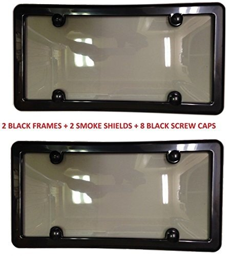Trunknets Inc 2 Unbreakable Tinted Smoke License Plate Shield Cover + 2 Black...