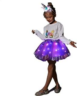 تنورة SHINYOU للفتيات بألوان قوس قزح توتو بإضاءة LED زي عيد الميلاد