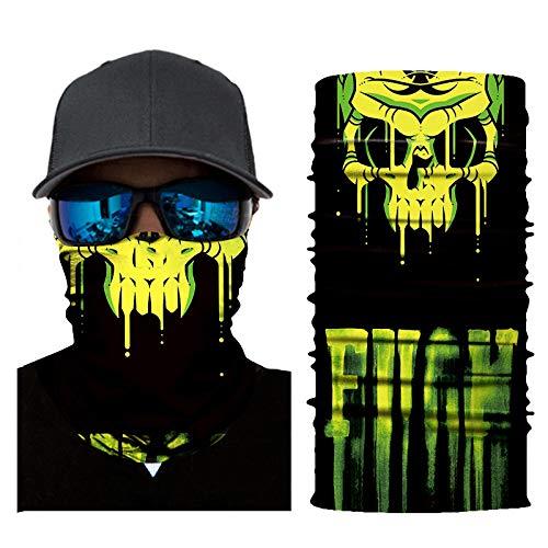 Fahrrad Motorrad mit Totenkopfmotiv Ski Radfahren Halbe Staubschutzmaske Gesichtsmaske Halswärmer für Nase Atmen Halswärmer Outdoor Sports Maske für Erwachsene Männer Frauen (A)